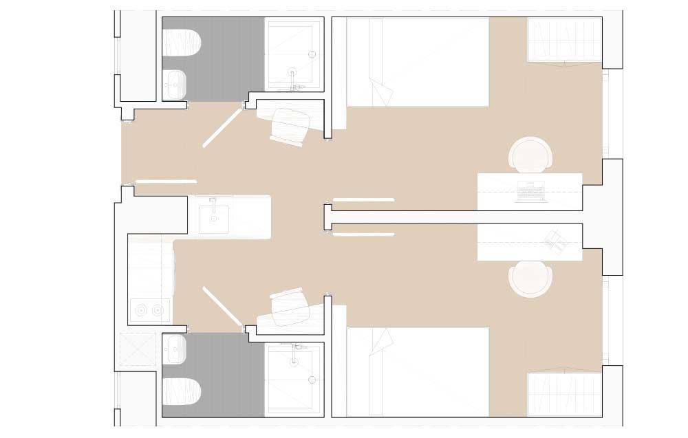 Habitación individual con cocina compartida Residencia Universitaria Granada
