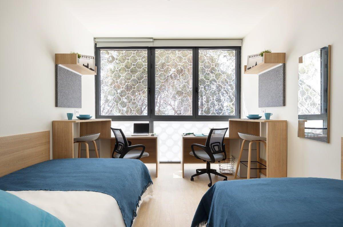Habitación doble residencia universitaria Granada